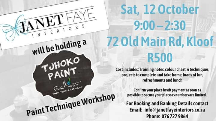 Tjhoko Paint Technique Workshop with Janet Faye interiors on the 12 October 2019.