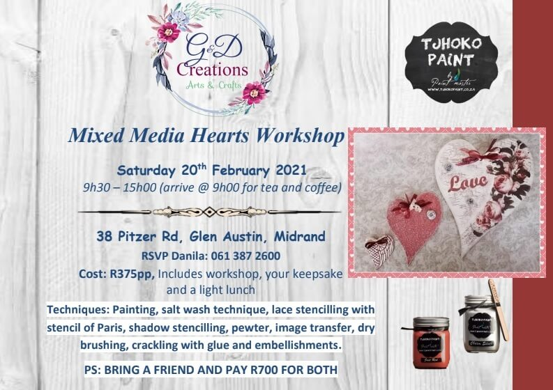 20 February 2021 – Midrand, Mixed Media Hearts Workshop