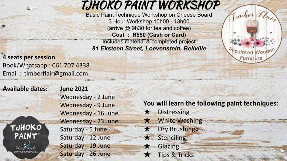 Various Dates in June 2021 – Bellville   Workshop – Paint technique on cheese board